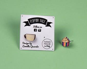 Wooden and Steel EARRINGS, laser cut, hypoallergenic: CUP and MUFFIN