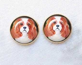 Blenheim ~ Cavalier King Charles ~ Gold Post Earrings ~ Cavi Earrings ~ Dog Paintings ~ Valentines Day ~ GOLD earrings ~ Pet Loss Gift