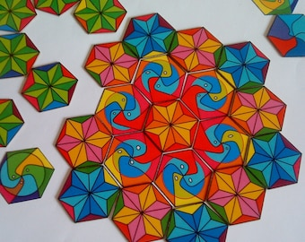 Educational Toy for Toddlers, Art Game Pieces, Kids Art Craft, Mandala Puzzle Game, Toddler Toy for the Car, Pre school Activity, ON SALE