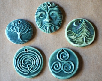 5 Handmade Ceramic Beads in Deep Moss Green  - Celtic Pendants and  Charms - Greenman Pendant - Tree of Life Focals for Christmas Gifts