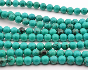 """15.5""""  6mm  Green  Turquoise  Round  Beads ,  GREEN  TURQUOISE  GEM"""