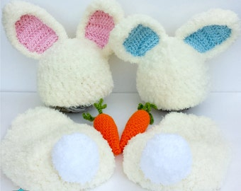 CROCHET PATTERN- Crochet Newborn Fuzzy Bunny Hat and Cape Set with Amigurumi Carrot, Easter Baby Girl and Baby Boy Bunny Outfit Pattern