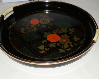 Vintage Flowered Lacquered Tray-Japan
