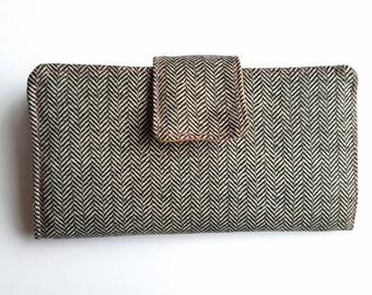 Womens wallet, herringbone wallet, fabric wallet, clutch, black and white wallet, Bifold wallet