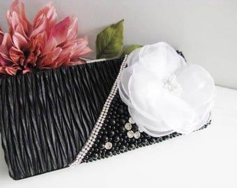 Black Satin Pearl Rhinestone Bag, Necklace Wedding Bridal Bag Clutch Formal Wear