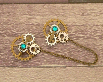 Turquoise Steampunk Collar Pins, Sweater Pins, Steampunk Brooch, Collar Chain, Steampunk Jewellery, Lapel Pins, Collar Brooch