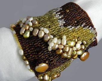 Pearl and Vintage Venetian  Seed Bead Cuff