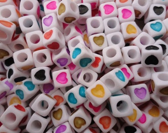 100pcs 7mm heart square beads,mixed color heart bead with 3mm diameter hole--plastic heart bead--acrylic heart bead--BW16