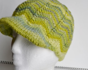 Hand Knit Soft Brim Handspun Winter Cap with Green Chevron Stripes - Superfine Handspun Merino, Soft, Green, Textured, brimmed.