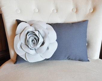 Light Gray Rose on Charcoal Gray Lumbar Pillow -Decorative Pillow-