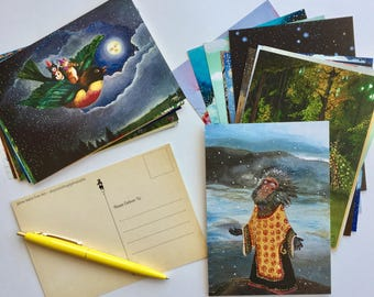 Postcards / Set of 35 Designs / animal postcards / woodland postcards / small wall art / tiny art prints / snail mail / post crossing / mail
