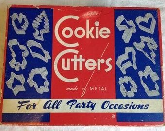 Vintage Cookie Cutters in Original Box Art Deco Blue and White Design Kitchen Decor