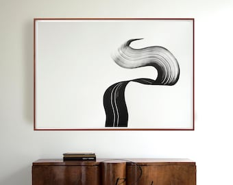 Horizontal abstract art, large abstract art, extra large wall art, art, modern art, abstract, black and white abstract ink art, modern art