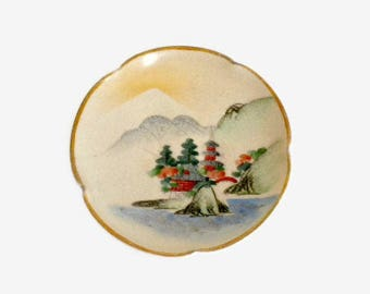 Small Hand Painted Japanese Dish With Pagodas - 3.5 Inches, Ring Dish, Trinket Dish, Soy Sauce Dish, Small Dish, Plate For Doll