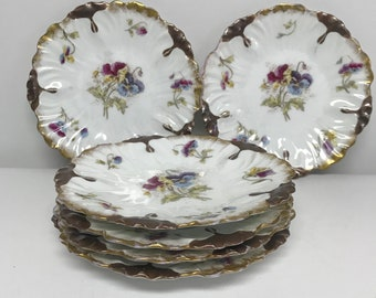 Six L S & S France Limoges Bread And Butter  Dessert Plates Heavy Gold Trim