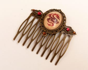 Hair comb with dragon motif in red purple bronze fantasy hair accessories LARP gift girl