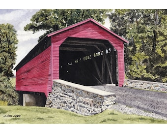 Utica Mills Covered Bridge - Covered Bridge Landscape, Art Print, Watercolor Painting, Covered bridge wall art