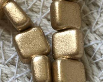 Square Czech Glass Beads, Small Flat Square 6mm, Matte - Metallic Flax, Single Hole, Qty. 25 Beads / Strand