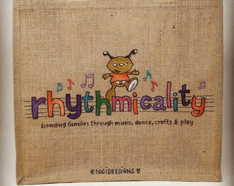 Hand painted business logo, hessian jute bags.