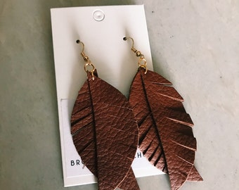 Split feather leather earrings