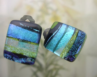 Green Ribbons Clip Earrings, Handmade Fused Glass Jewelry from North Carolina