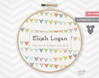 BABY BANNER ANNOUNCEMENT counted cross stitch pattern, baby boy shower gift xstitch pdf