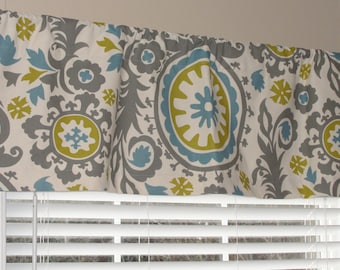 """Summerland Suzani Window Valance 50"""" wide x 16"""" long Lined or Unlined Gray Citrine Yellow Blue Premier Prints"""