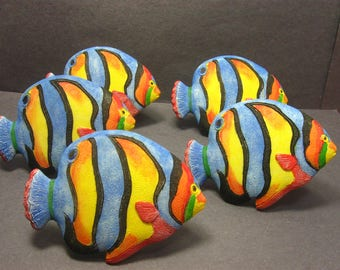 Vintage Tropical Fish Napkin Ring Holder Set of 5 Multicolor