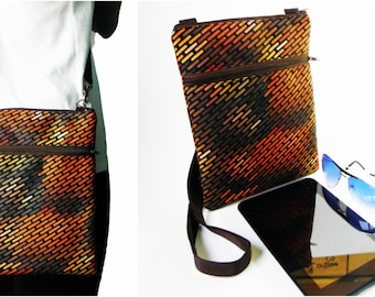 large brown metal brick shoulder crossbody messenger satchel ipad mini tablet bag men women sling handbag gift for her him outdoor purse