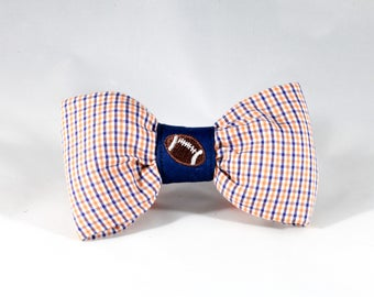 Preppy Navy and Orange Gingham Game Day Dog Bow Tie, Auburn University Tigers Football