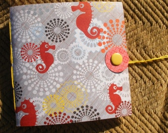 Hand Sewn Sketch Journal--Seahorses