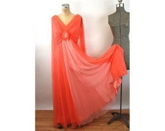 1960s maxi dress Grecian Goddess chiffon peach coral dress with floating cape Size M