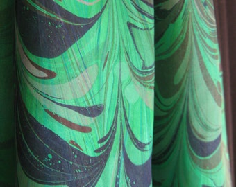 "Marbled Silk Scarf - ""Mystical Green"" 14 x 72"" Hand Washable with Deep Red and Deep Blue"