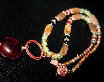 JESSICA Wood, Bronzite, Jade, Carnelian, Pietersite, Copper and Sterling Necklace