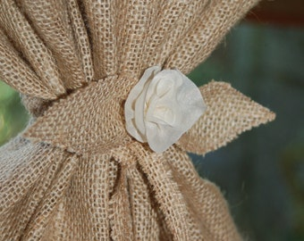 Rustic, cottage chic, natural jute fringed burlap window curtain panel 32'' wide and custom lengths available