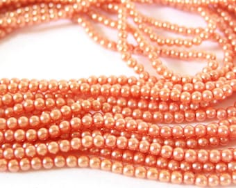 Peachy, Light Orange 3mm Glass faux Pearls, 60 Inch Strand