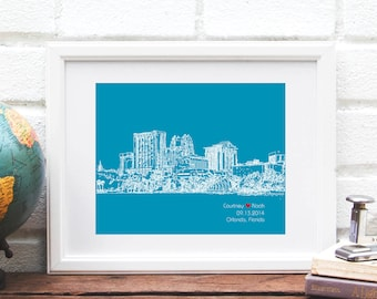 Orlando Florida Bridal Shower Gift, Personalized Engagement Gift, Wedding Gift for Couple, First Anniversary, City Skyline Print, Guestbook