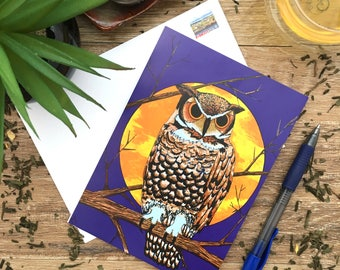 Rocky Mountains - Great Horned Owl - Blank Card - Envelope Included - Recycled Paper