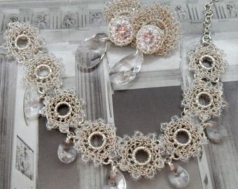 Retro bridal jewelry, rhinestone vintage set of jewelry for bride, wedding set, bridal unique jewelry, brout set, Swarovski crystal zircon