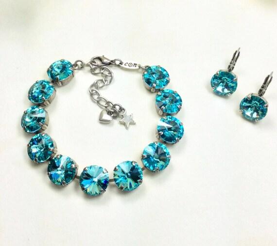 Swarovski Crystal 12MM Bracelet - Designer Inspired -  ANY 12mm Swarovski Color Listed - Your Favorite Color and Finish- FREE SHIPPING !