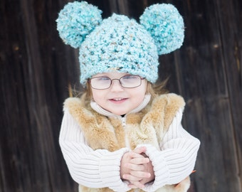 9 Sizes Pom Pom Hat Baby Hat Baby Girl Hat Baby Boy Hat Toddler Hat Toddler Girl Toddler Boy Womens Hat Sea Blue Brown Photo Prop Winter Hat