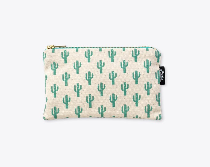 New! Sparkly Cactus Organic Cotton Zip Bag
