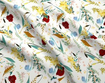 Summer Florals Fabric - Zelda Iveta Abolina By Onesweetorange - Floral Garden Flowers Botanical Cotton Fabric By The Yard With Spoonflower