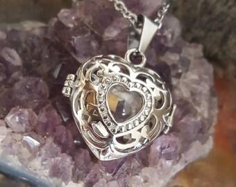 Stainless Steel Heart Locket w/Glass Orb | Cremation Jewelry | Urn Jewelry | Memorial Jewelry | Heart Locket | Heart Urn Necklace