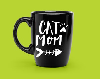 Cat Mom Decal Hand Lettered - Custom Mug Decal - Unique Pet Lover Decal - Cat Lover Mug - Pet Mom Decal - Pet Lover, COFFEE Mug VINYL DECAL