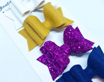 Mustard, purple, blue and white hair bow set, hair clip, girl, headband, glitter bow, Easter