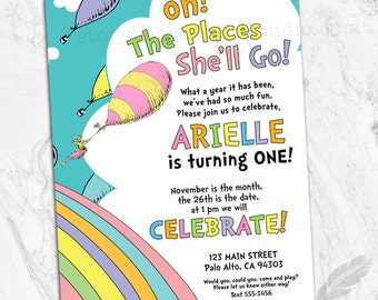 Oh The Places Birthday Party Invitations, kids, birthday, oh the places you'll go, he, she, pink, blue, digital file