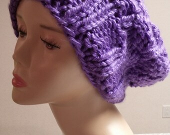 Purple Chunky Knit Slouchy Winter Hat