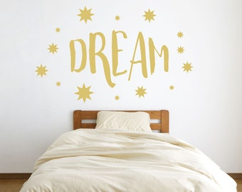 Dream - Starbursts and Stars - Quote - Wall Decals