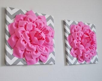 "Girls Nursery Wall Decor - Bright Pink Dahlia on Gray and White Chevron 12 x12"" Canvas, Wall Art, Dorm Wall Hangings, Wall Decor"